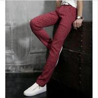 Mens Slim fit Straight Skinny Trousers Casual dress Jeans pencil Pants Cotton