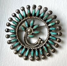 Old Pawn Zuni NA Turquoise Silver Petit Needle Point Flower Brooch PIN Vintage