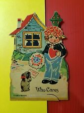 Vintage 1910-20's Valentine Card - Germany - Boy with Cap and Dog - Who Cares