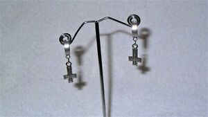 Inverted Upside Down Cross Earrings Jewelry Goth Death Rock Satanic Occult