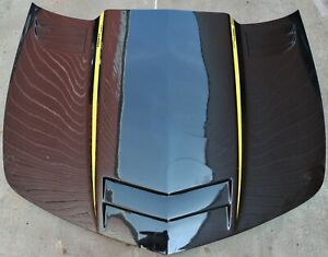 2010-2015 Camaro Seibon Carbon Fiber Twin Turbo Hood Black & Yellow USED