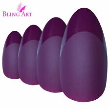 False Nails by Bling Art Purple Matte Almond Stiletto 24 Fake Long Acrylic Tips