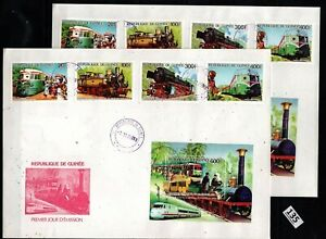 // GUINEA 1986 - 2 FDC - PERF+IMPERF - TRAINS, LOCOMOTIVES