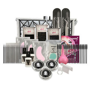 Individual Eyelash Extension Kit C Curl Lashes Glue tweezer Tool Case Set