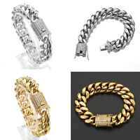 8mm-18mm 18K Gold Men's Miami Cuban Link Bracelet Stainless Steel Crystal Clasp