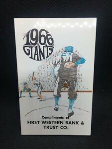 1966 San Francisco Giants Baseball Schedule First Western Bank & Trust
