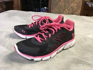 Womens Under Armour Tennis Shoes Sneakers Size 9 Black and Pink
