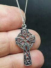 "Cross Pendant 925 Sterling Silver Kildalton Celtic Knot 18"" Chain Necklace Boxed"