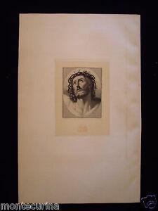 1875 TESTA DEL SALVATORE GESU' CORONA SPINE CARACCI ANTICA STAMPA INCISIONE e9