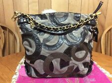 Coach Brooke Inlaid C Leather Suede Large Hobo Shoulder Bag 14340