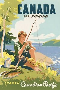 Vintage Travel Poster Canada for Fishing Travel Canadian Pacific
