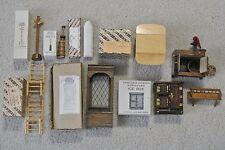 9pc Lot Vtg. Concord Wood Dollhouse Furniture Drop Leaf Table Room Divider Stove