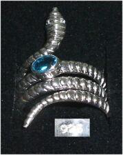 Schlangen-Ring aus 925er Silber mit Blautopas,  Gr. 66 Ø 21 mm  neu (da3652)