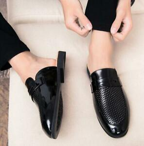 Leather Half Silpper Loafers Hollow Out Casual Shoes Slip On Pointed Toe Mens