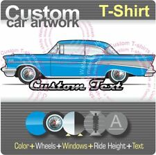 Custom T-shirt 57 1957 Chevy Chevrolet Bel Air Sport Coupe Hardtop V8 Drag race