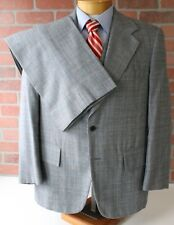PRISTINE 70's Era Gray Blue Brown Plaid 3 Piece Suit Wool USA 41R 36W 30L