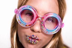 Girls 3D fun free falling faux sprinkle swimming goggles