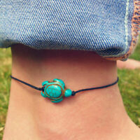 Beach Turtle Charm Rope String Anklets For Women Ankle Foot Bracelet T3J7