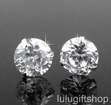 8MM DIAMANTE CZ STONE CUBIC ZIRCONIA WHITE GOLD PLATED HOP HOP MEN STUD EARRINGS
