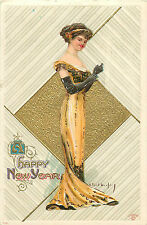 "R. FORD HARPER A/S ""HAPPY NEW YEAR"" BEAUTIFUL WOMAN IN GOWN 1911 P/C"