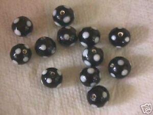 Black and White Polka Dot Round Glass Beads 12mm
