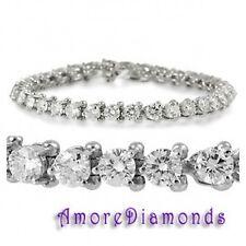 "10.5 ct F I1 round natural diamond 3 prong martini tennis bracelet 14k white 6"""
