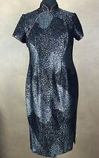 Top Lady Fashion Asian Inspired Mandrin Neckline Black Metalic Gisha Girl Dress