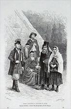 ESPAGNE - AGRICULTEURS et JUIFS de GALICE du 19e siècle - Gravure du 19e s.