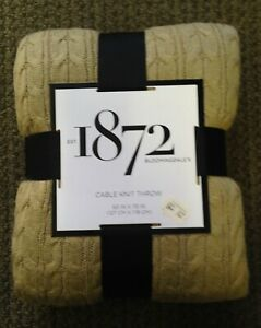"""New Bloomingdale's 1872 50""""x70"""" Cable Knit Throw, Taupe"""
