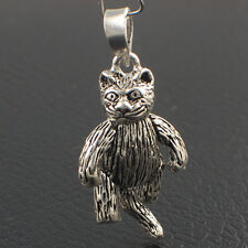 Sterling Silver Articulated Cat Large Charm or Pendant, Moving Legs Arms & Tail