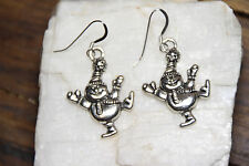 925 sterling silver earrings charm Christmas Jolly Snowman pewter 1 pair