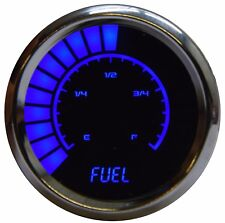 Analog Bargraph FUEL GAUGE Universal BLUE LEDs! Chrome Bezel 52mm 2 1/16 in