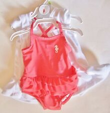 Coral One Piece Swimsuit with Cover-Up by Carter's Size 3 months NWT