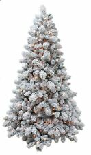 New Christmas Tree 7ft Prelit Warm White LED Lights Flocked Spruce Full Xmas