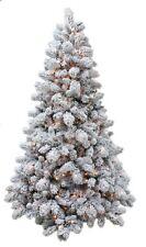 New Christmas Tree 7ft Prelit Warm White LED Lights Flocked Spruce Full Xmas