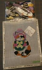 Colorful Kitten By Dede Hand painted Needlepoint Canvas  with DMC #696D