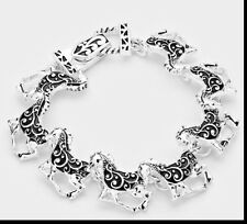 Metal Link Chain Magnetic Bracelet Silver Black Filigree Swirl Horse Animal