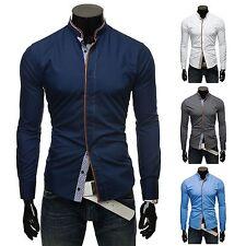 Unifarbene Herren-Freizeithemden aus Baumwollmischung mit Stehkragen