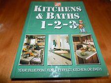 KITCHENS & BATH 1-2-3 HOME DEPOT House Improvement Design Repair Fixture LN Book