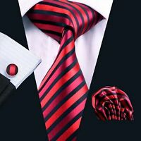 NEW ITALIAN DESIGNER RED & BLACK STRIPE SILK TIE HANKY & CUFFLINKS