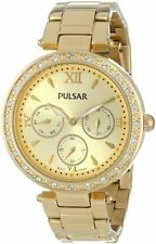 Pulsar PP6106 Women's Swarovski Crystals Gold Tone Analog Chronograph Watch