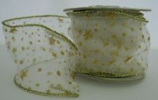 Vintage Ribbon Spool Sheer with Gold Stars Wire Edges 28 feet