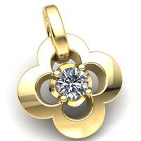 0.1ctw Round Cut Diamond Ladies Fancy Flower Solitaire Pendant 10K Gold