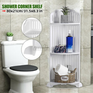 Shower Corner Shelf White Caddy Bathroom Shelves Organiser Bath Storage Rack 3