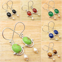 925 Silver Plated GREEN COPPER TURQUOISE, PEARL BEADED & OTHER Gemstone Earrings
