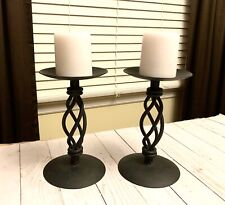 Set Of Beautiful Rustic Black Twisted Pillar Candle Holders