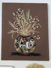 Vintage Embroidery Native American Vase Grass Yarn Wall Hanging Picture Brown