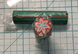 Polymer clay cane green and red cane 2""