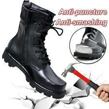 Men's Black Military Steel Tactical Leather Boots Lace Up Round Toe PU High Top