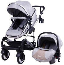 3in1 Kombi Kinderwagen Babywanne Buggy Autositz 0-15kg Grau Leinen Gewebe Neu